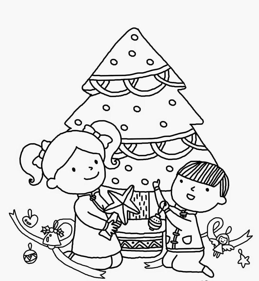 Colours Drawing Wallpaper Beautiful Christmas Tree And Kids