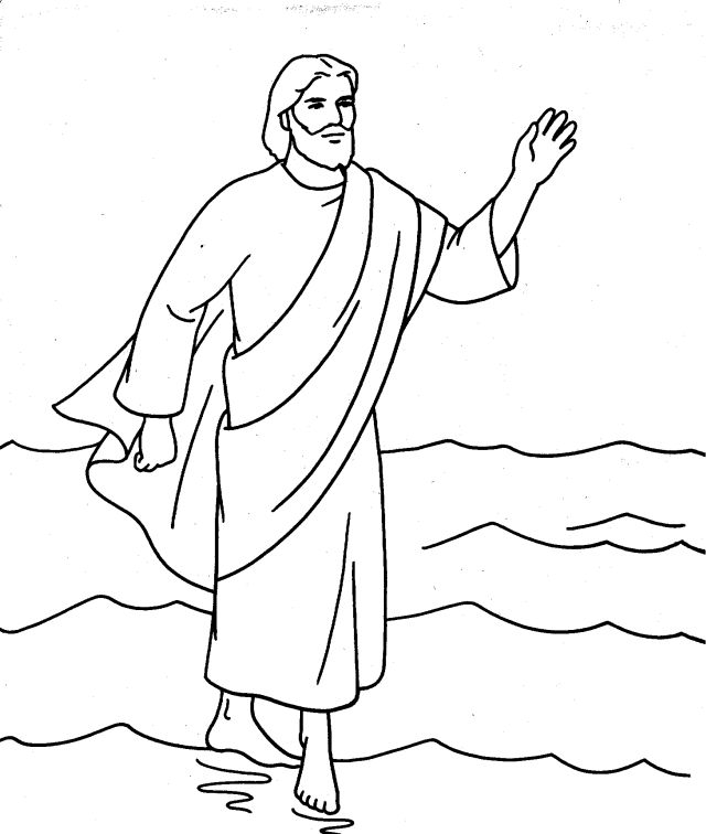 jesus walks on the water coloring page - peter walks on water coloring pages coloring home