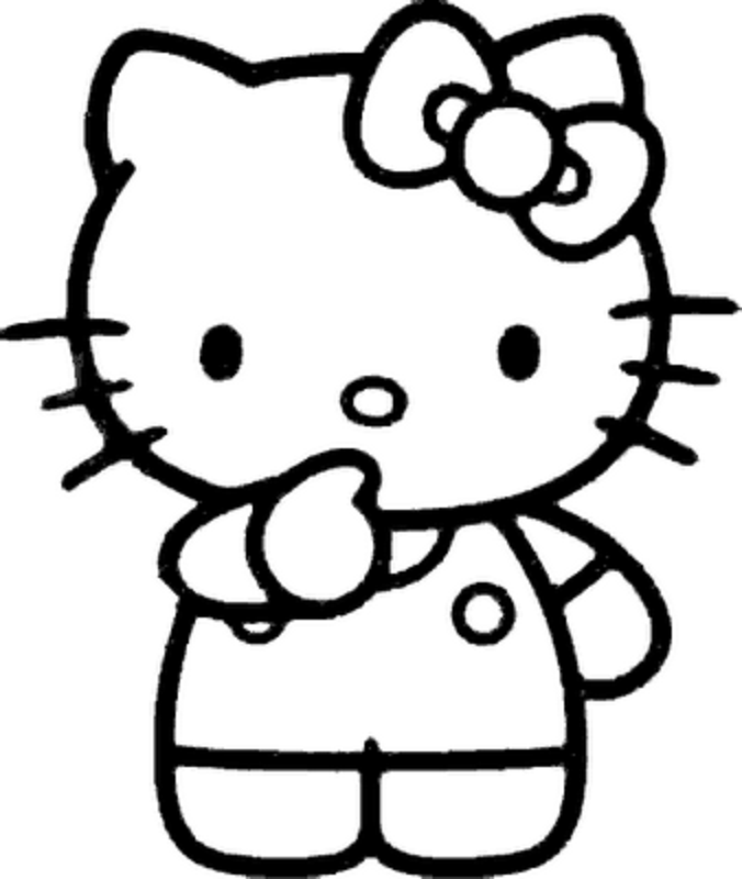 Hello Kitty Black And White - AZ Coloring Pages
