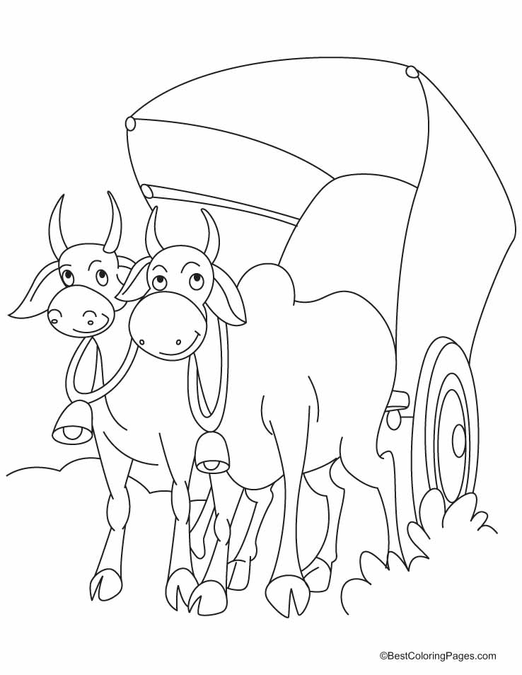 The cart harnessed by two bulls coloring pages | Download Free The