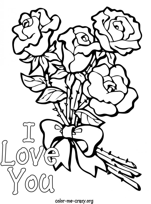 Hearts And Roses Coloring Pages - AZ Coloring Pages