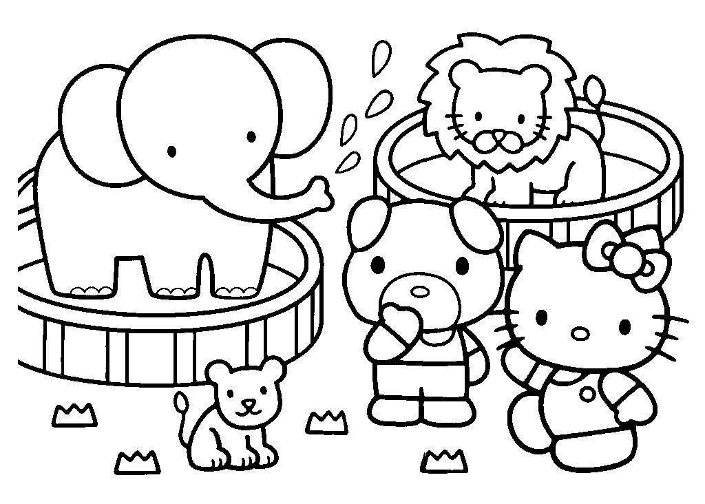 hello kitty in the zoo coloring pages - Zoo Coloring Pages