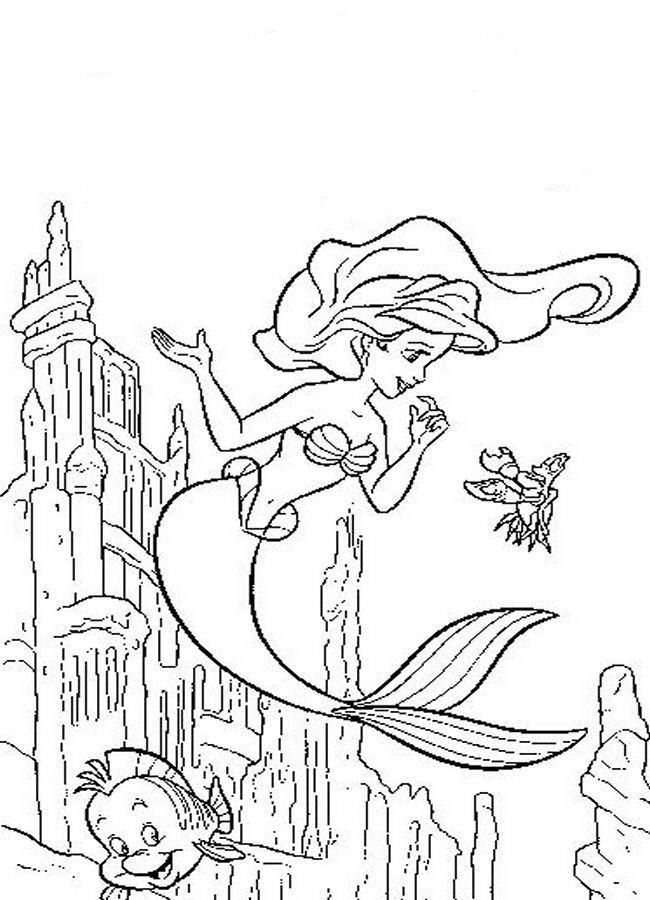Amazing Princess Ariel With Flounder Coloring Pages | Disney