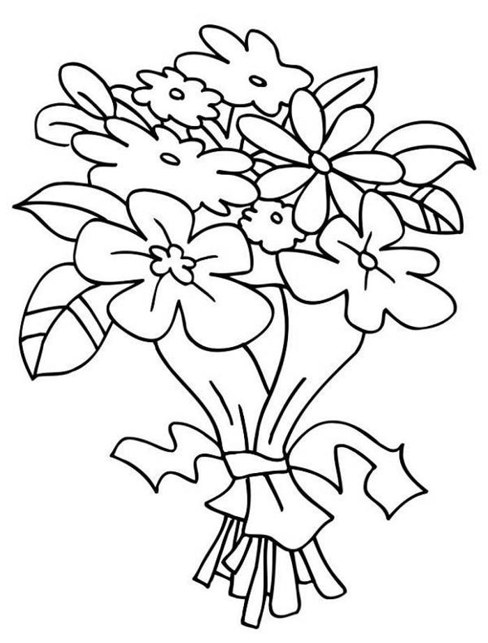Bouquet of flowers coloring Wedding Bouquet Coloring Pages
