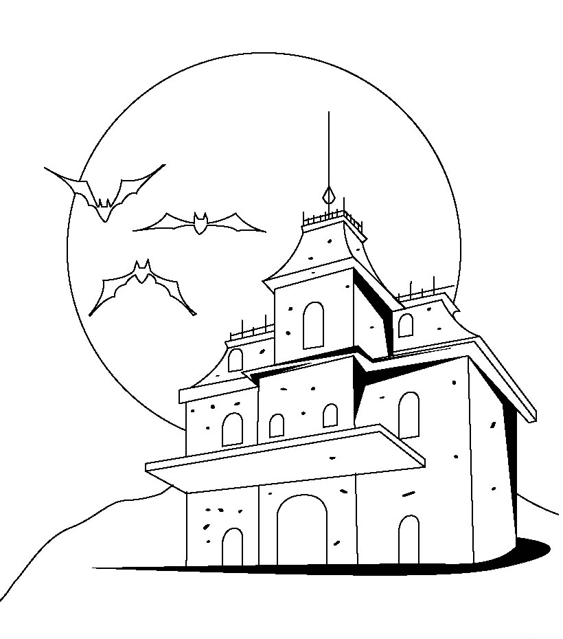 Haunted House Outline Coloring