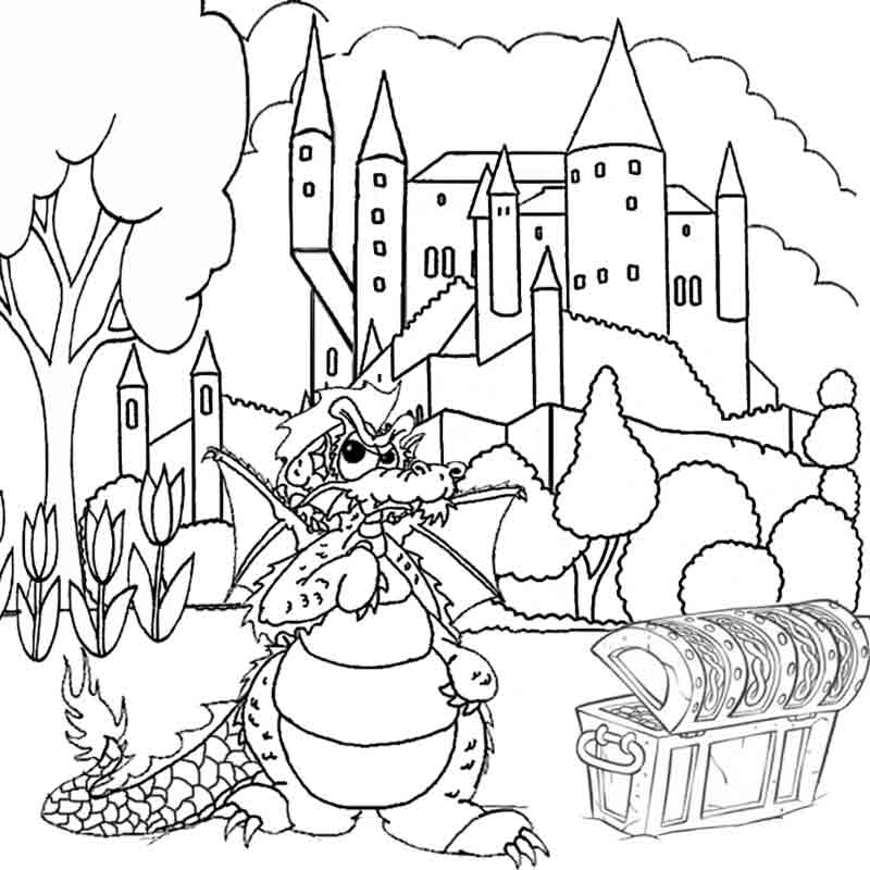 Fantasy Dragon Coloring Pictures To Print And Color In Worksheets