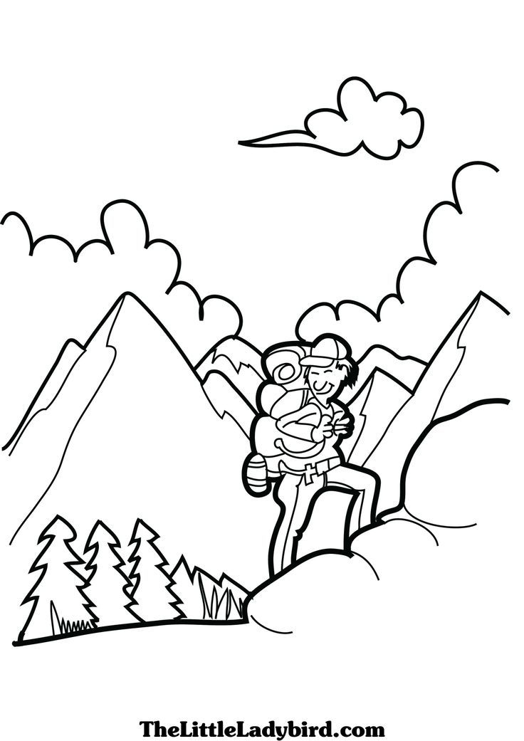 Coloring Pages Of Hiking In Mountains