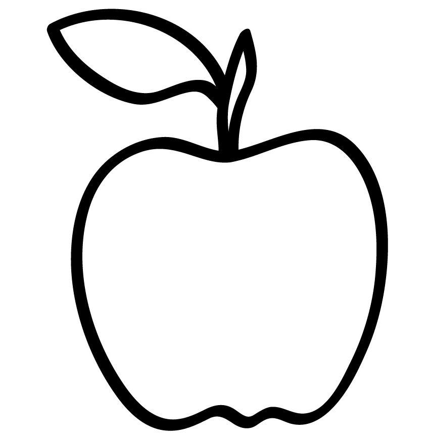 apple outline coloring page   az coloring pages