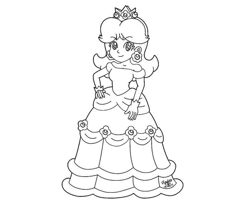 Princess daisy coloring pages az coloring pages for Free printable princess peach coloring pages