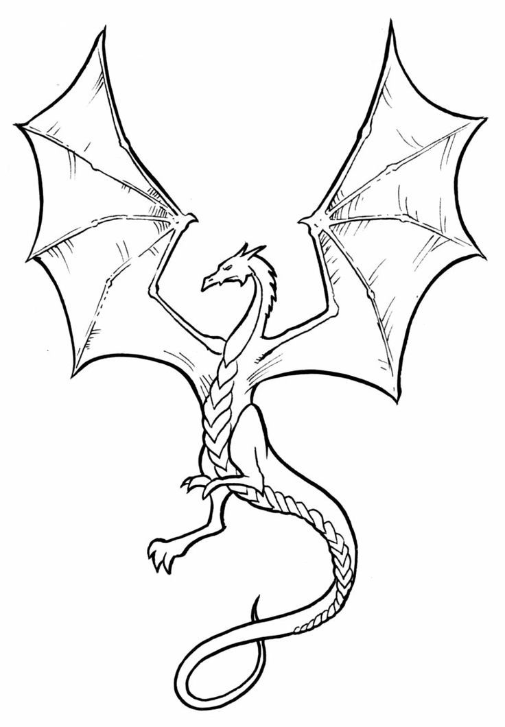 Line Art Easy : Simple dragon pictures az coloring pages
