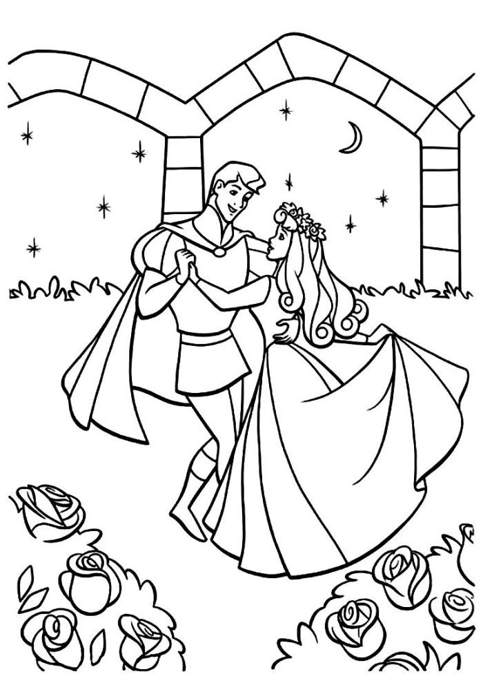 Aurora Being Kissed By The Prince Sleeping Beauty Coloring Page