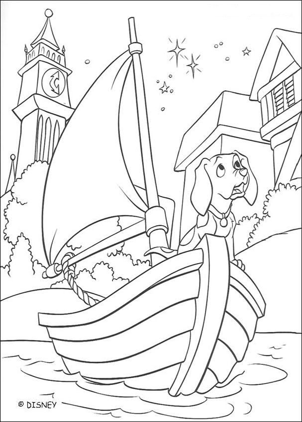 101 Dalmatians coloring pages - Dog and boat