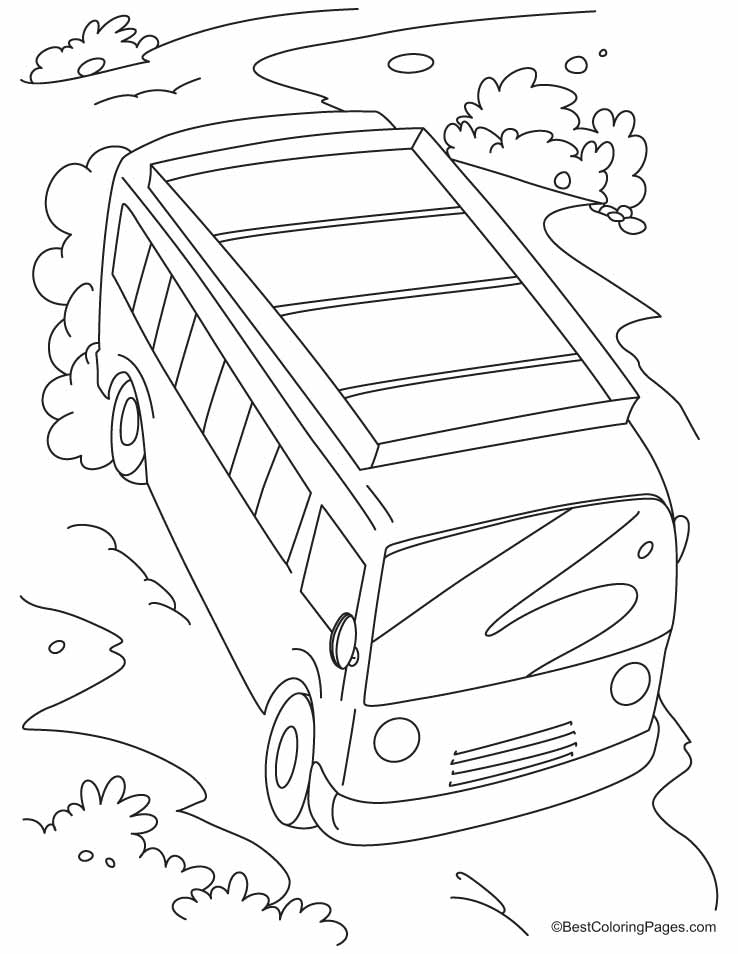 Fast Moving Bus On A Slope Coloring Pages