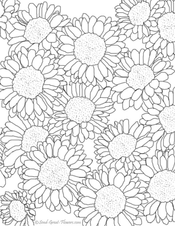 free advanced flower coloring pages - photo#26