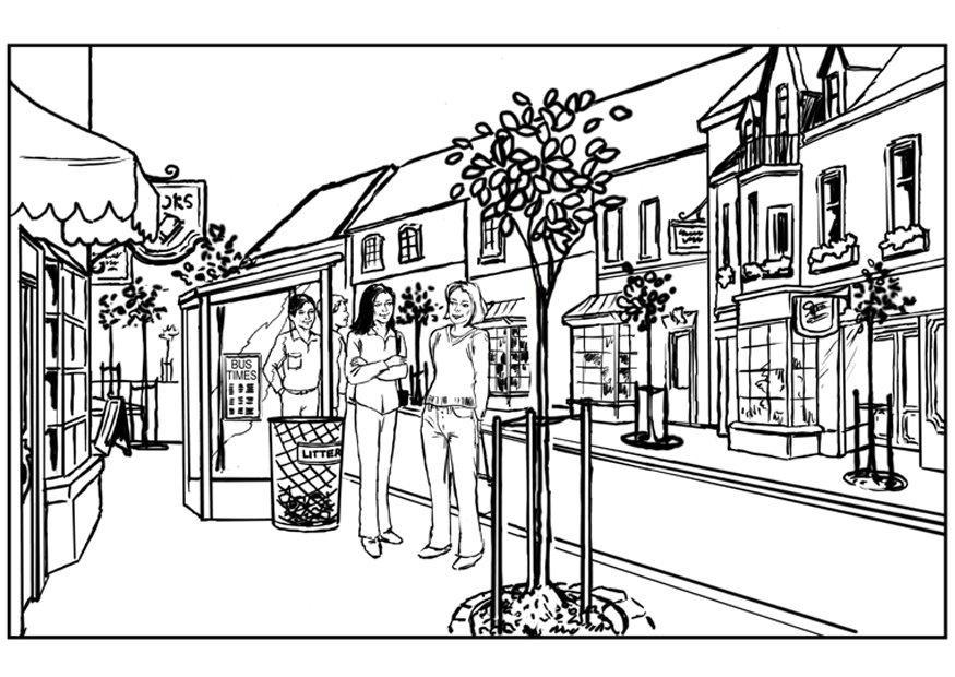 City Coloring Page - Coloring Home