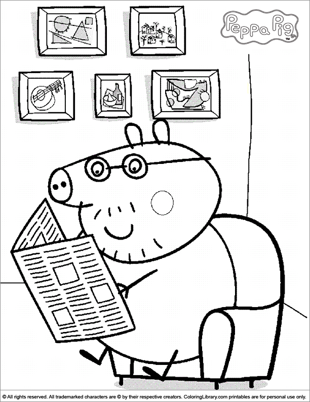 Daddy Pig reading the newspaper - Peppa Pig coloring page
