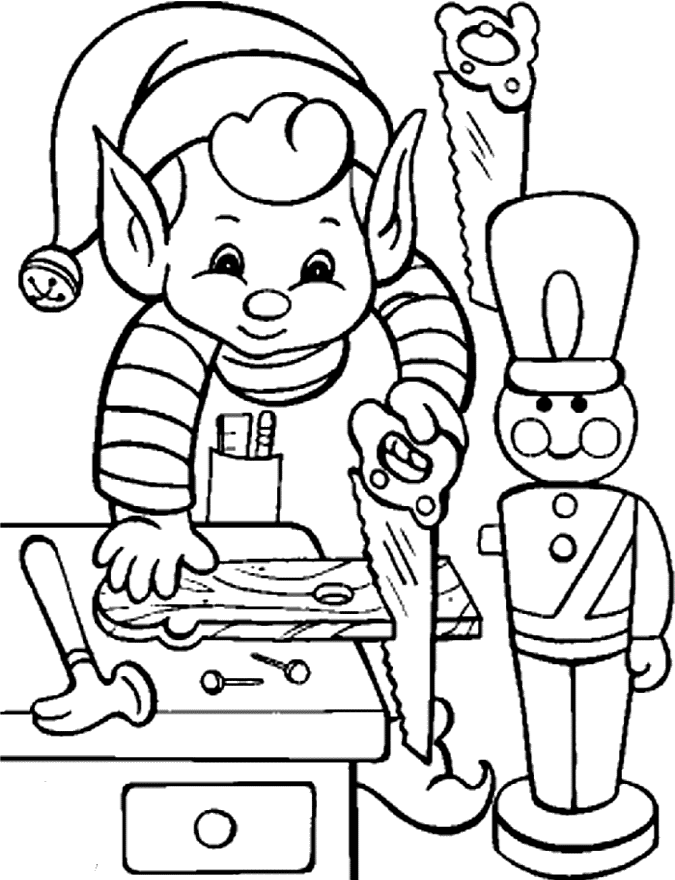 santa and elves coloring pages - photo#24