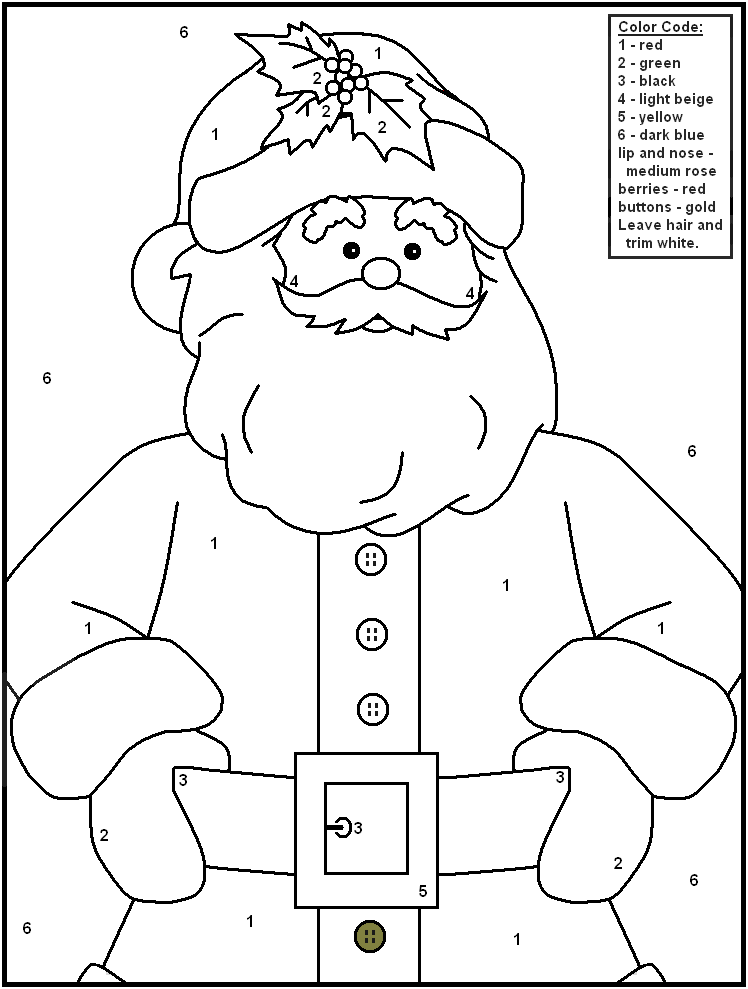 Color By Number Christmas Coloring Pages - Free Printable Coloring