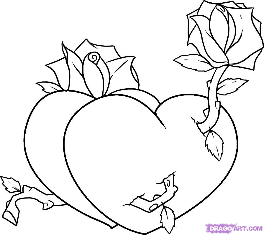 Coloring Pages Of Roses And Hearts Az Coloring Pages Hearts And Roses Coloring Pages