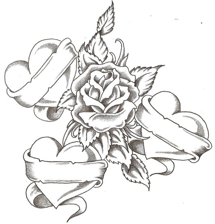 Coloring Pages Of Roses And Hearts - Coloring Home