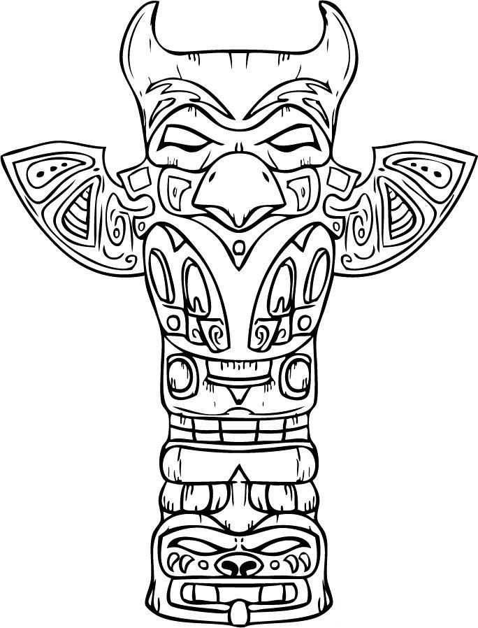 Totem Pole Coloring Page Coloring Home Coloring Pages Pole