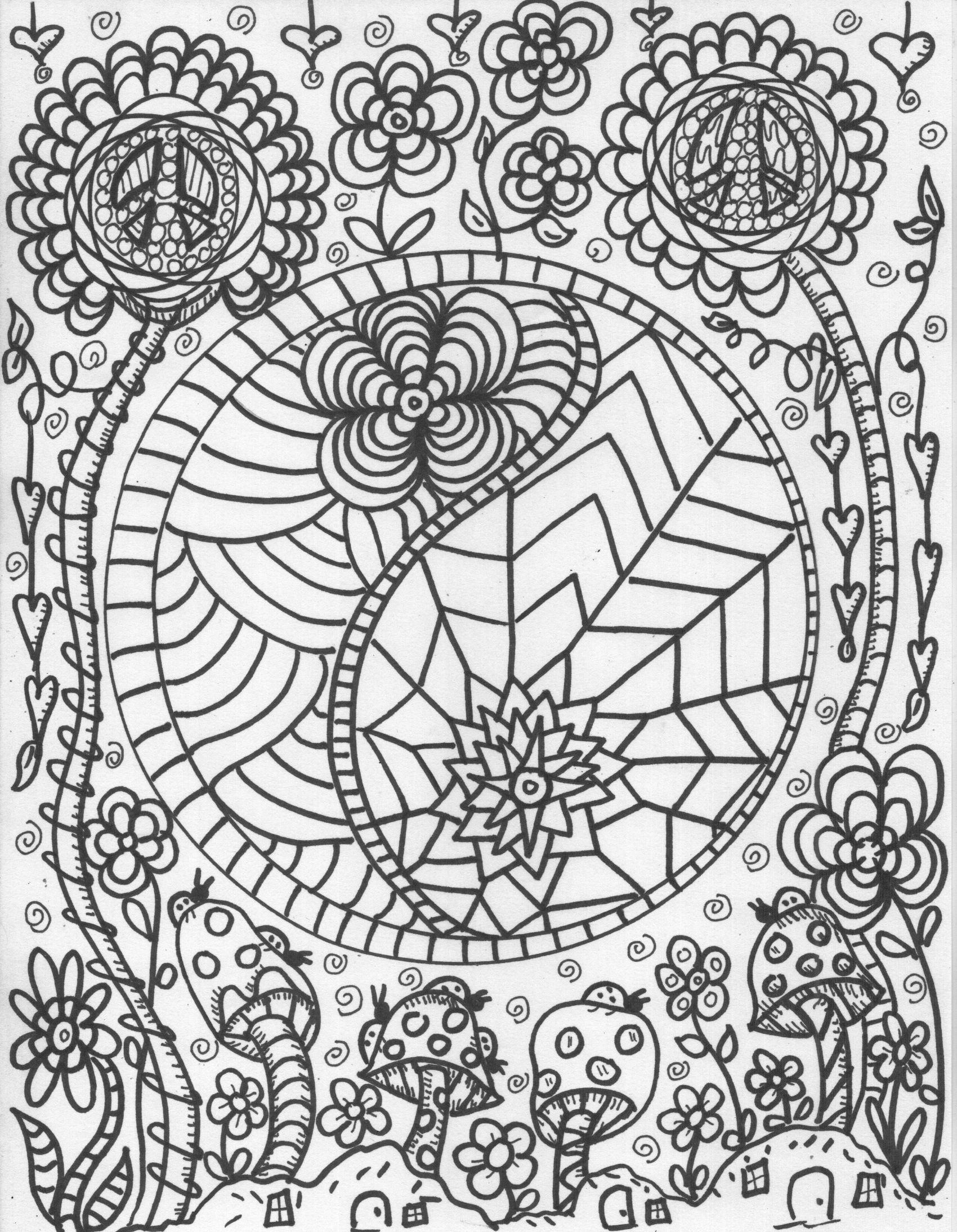 hippie coloring pages hippie smokes marijuana and shows the peace