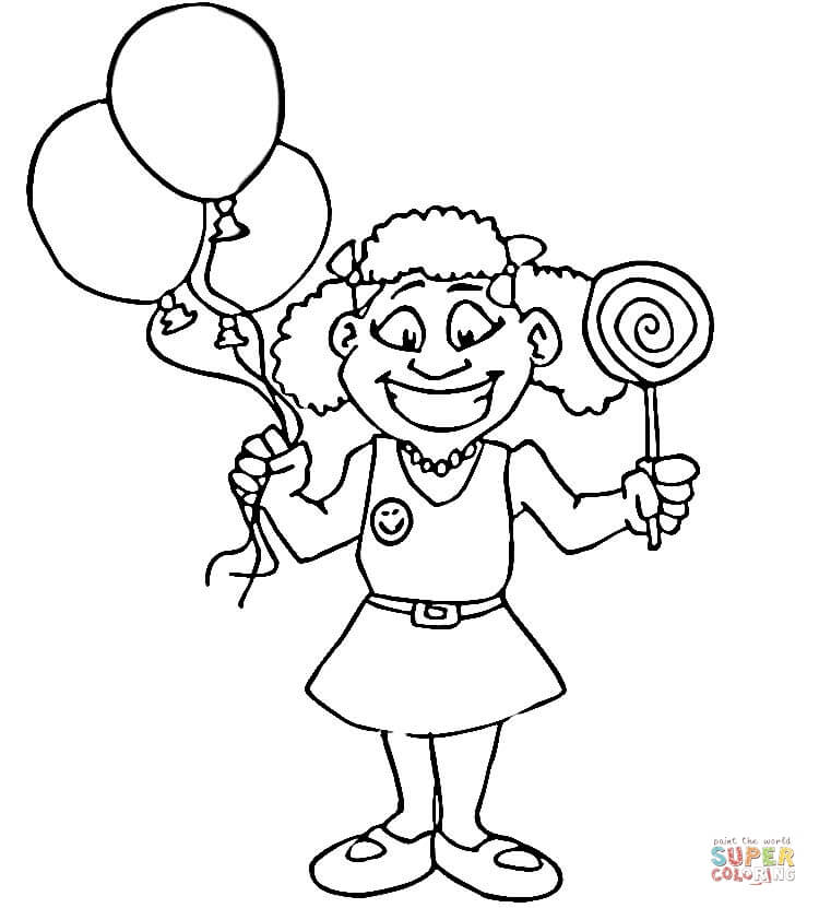 happy girl with lollipop coloring page free printable coloring pages
