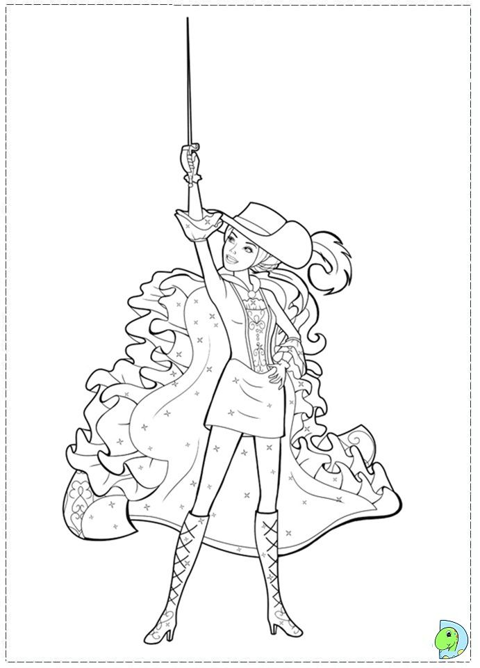 Barbie and the three Musketeers Coloring page- DinoKids.org