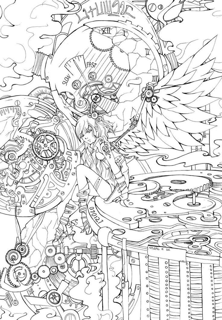 13 Pics of Steampunk Angel Coloring Pages - Detailed Coloring ...