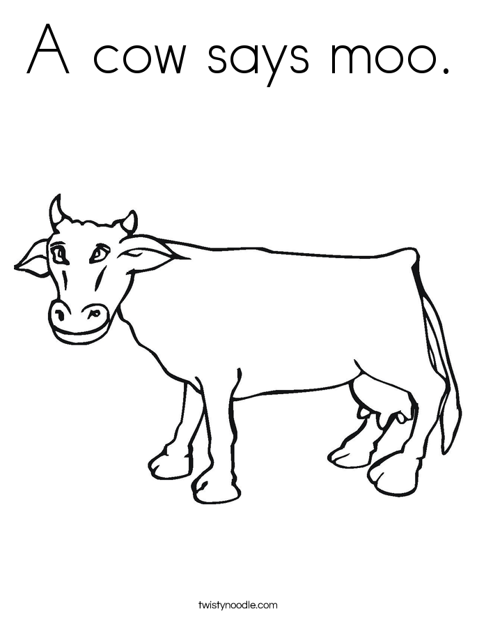 c is for cow coloring pages - photo #12