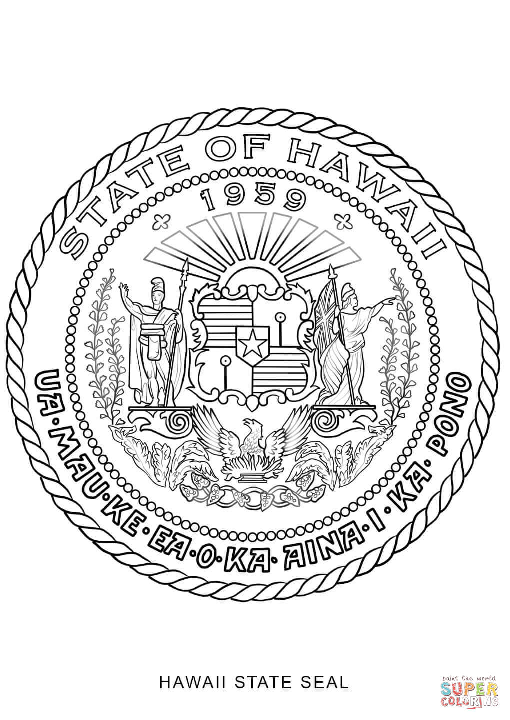 Free coloring pages hawaii - Hawaii State Seal Coloring Page Free Printable Coloring Pages