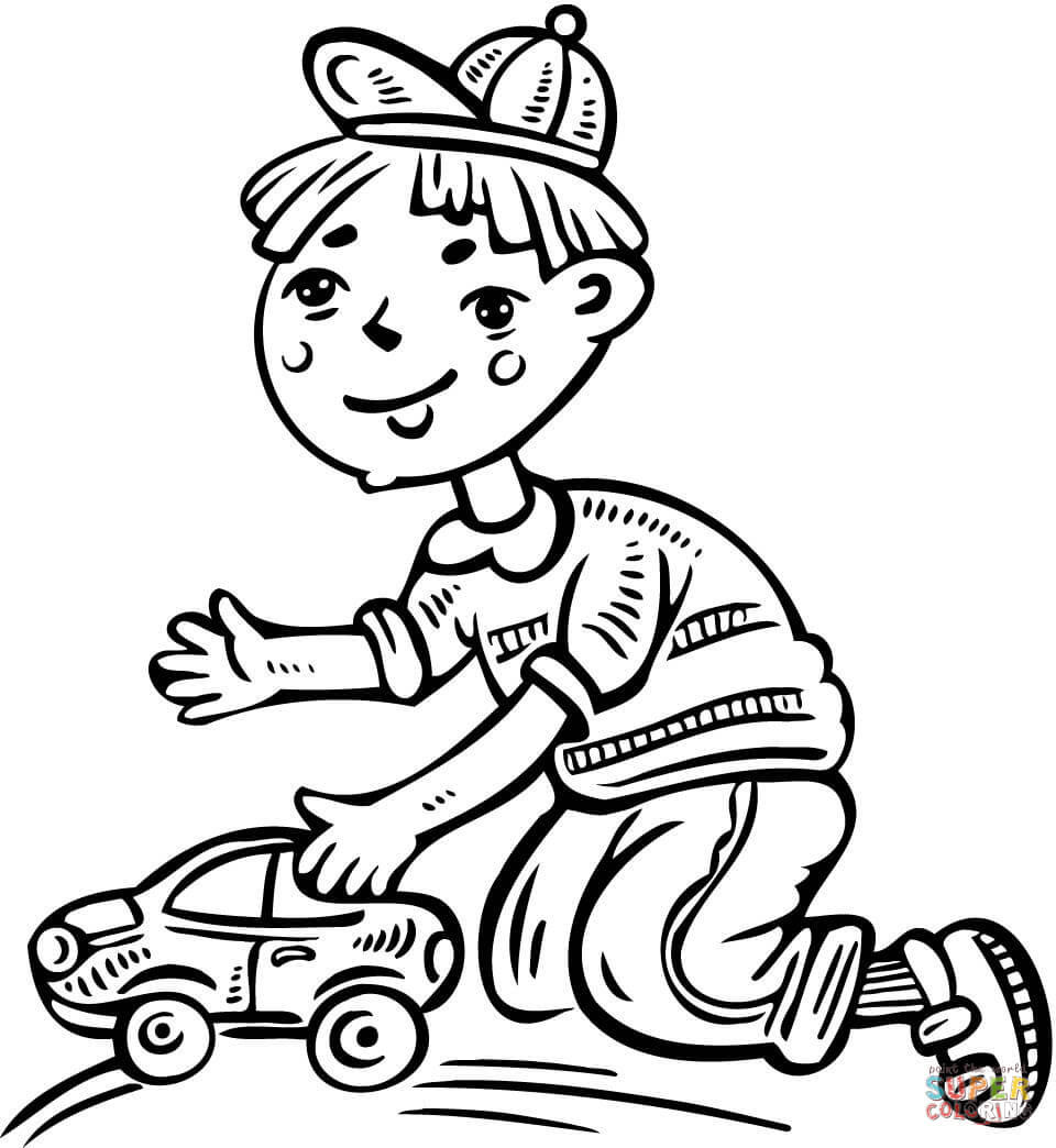 Coloring pages toy cars - Boy Playing With His Toy Car Coloring Page Free Printable