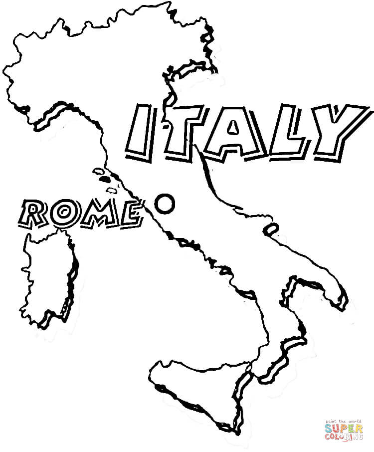 Map of Italy. Rome is the capital of Italy coloring page | Free ...