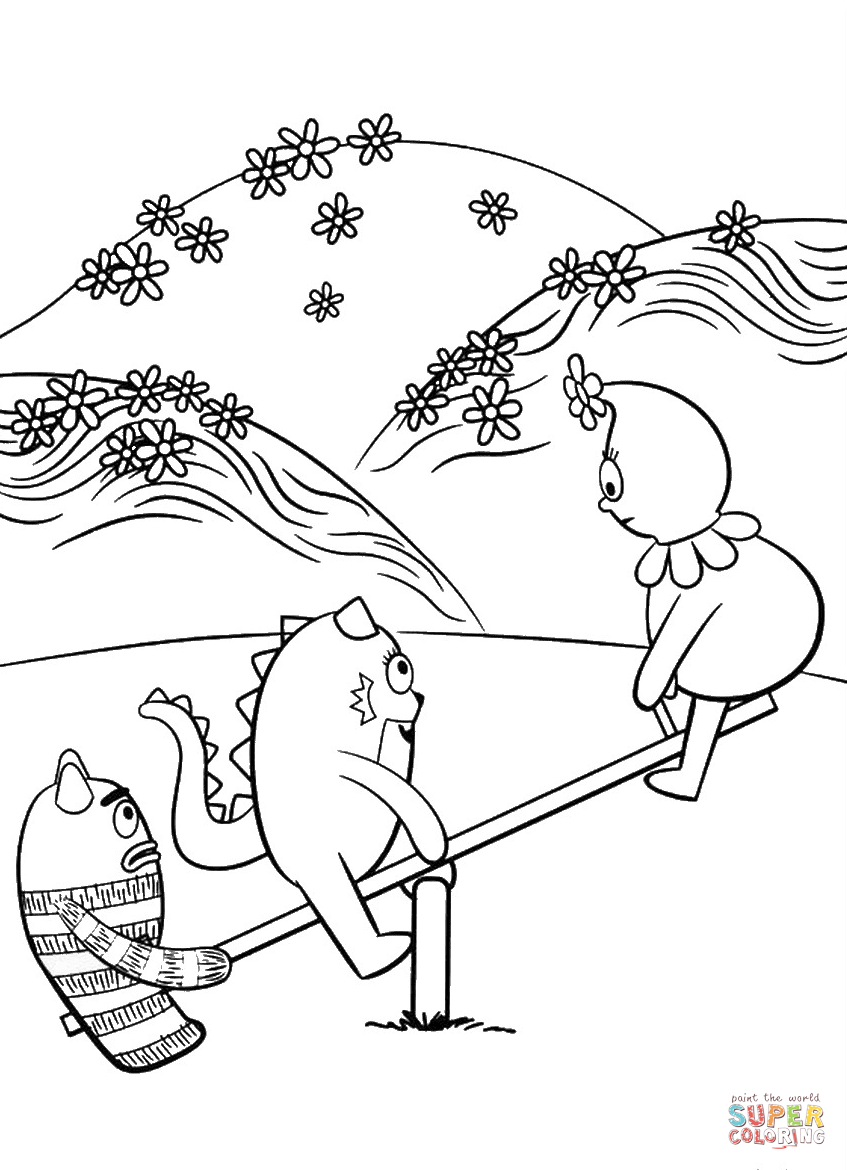 Toodee Brobee and Foofa are Playing on Swing coloring page