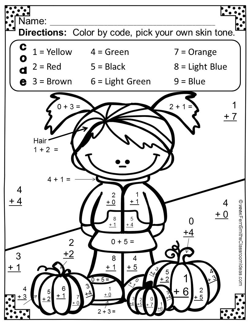 Addition Color By Number Coloring
