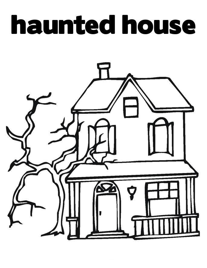Kids House Drawing: Cartoon Haunted House Coloring Page