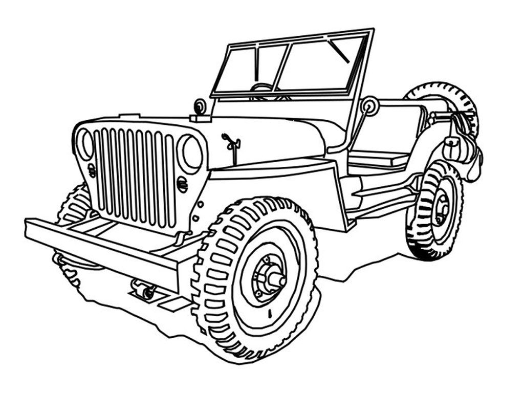 Military Jeep Coloring Pages Realistic