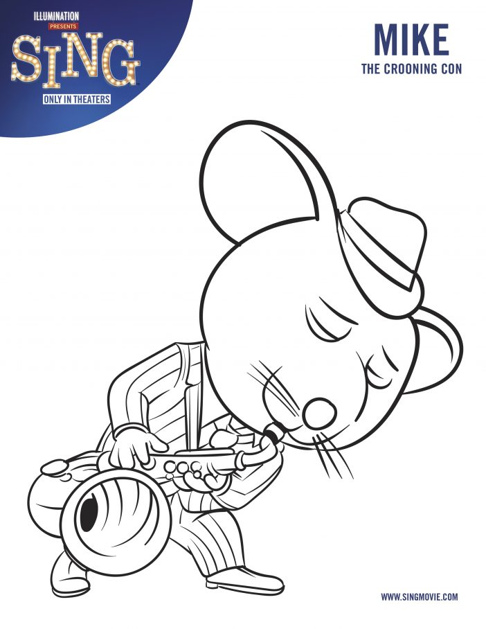 mike sing movie coloring page