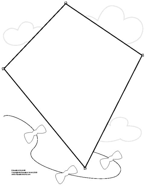 Kite Template | Best Photos Of Diamond Shape Kite Template Kite Coloring Page