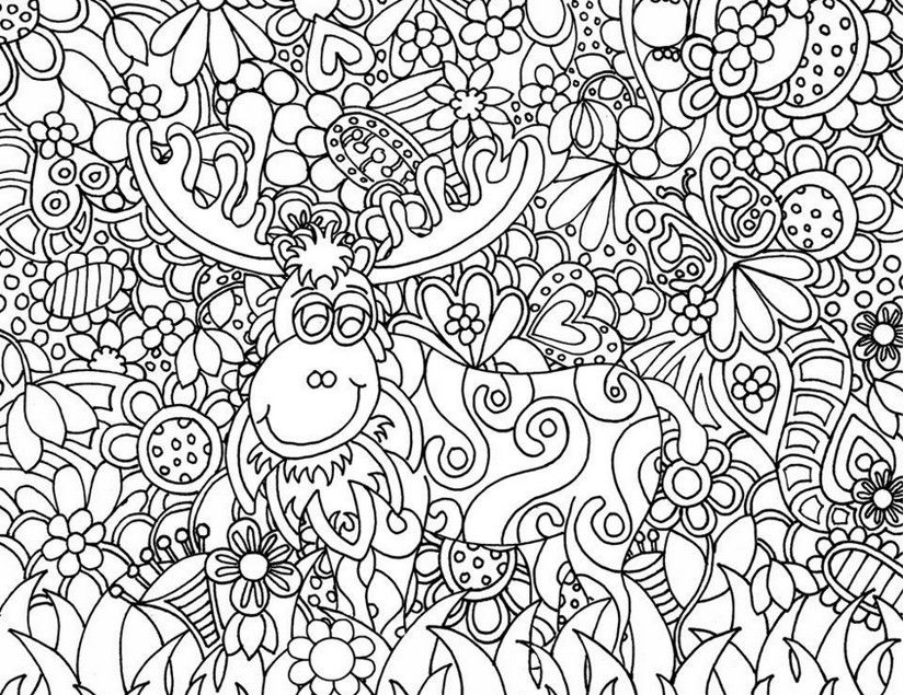adult coloring pages deer. christmas coloring page for adults ...
