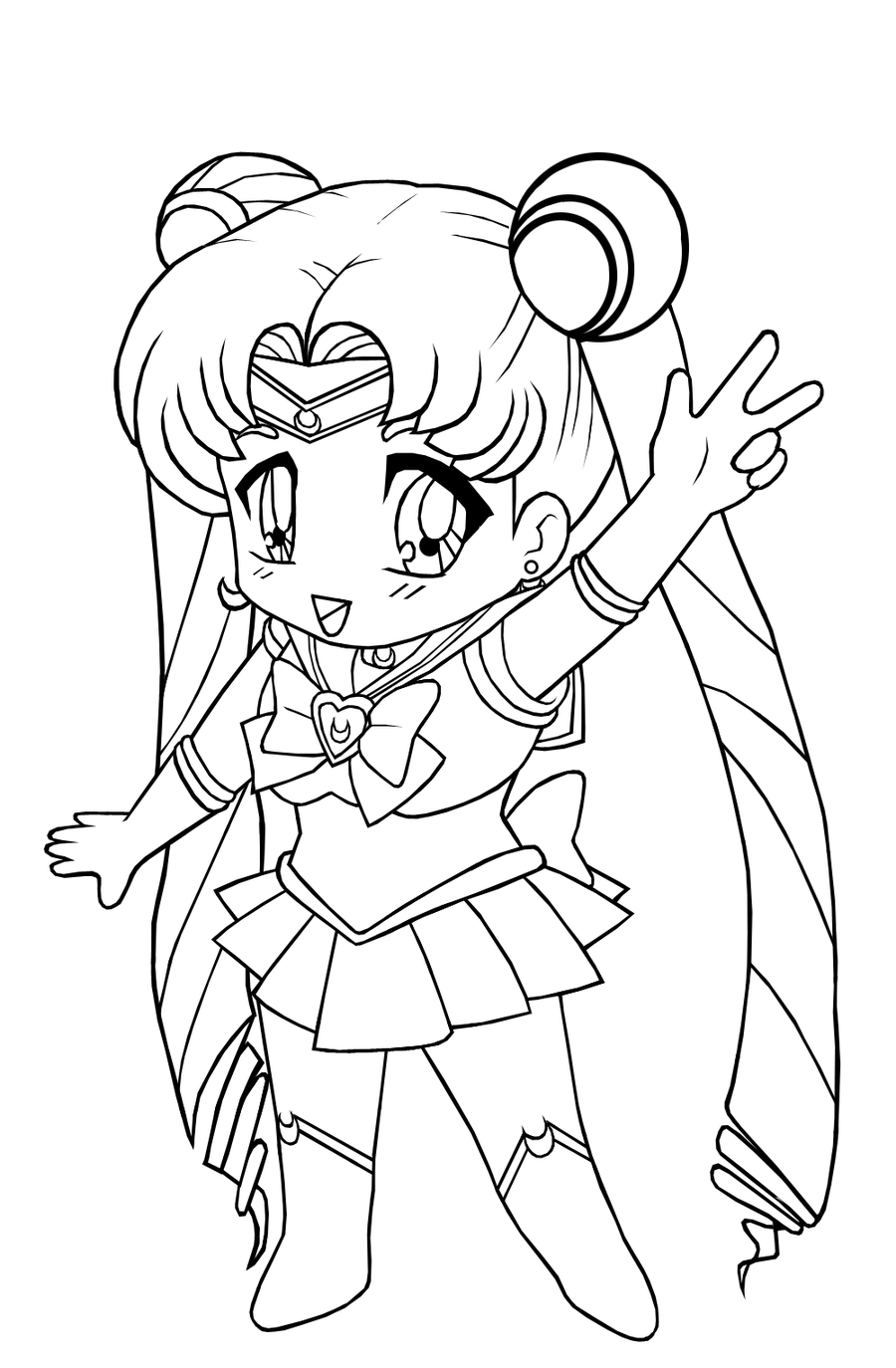 Cartoon Girl Coloring Pages: Anime Cat Girl Coloring Pages