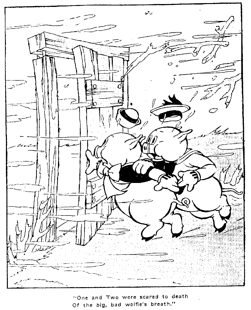 Coloring pages 3 little pigs - Three Little Pigs Houses Coloring