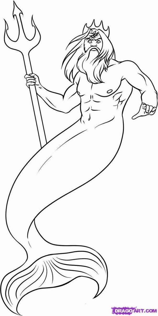 Zeus Line Drawing : Poseidon coloring pages home