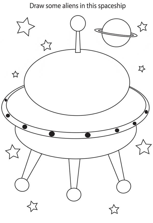 Space Ship Coloring Page - Coloring Home