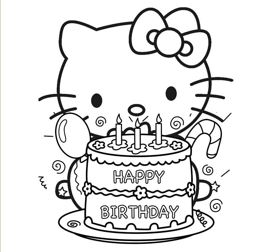Happy Birthday Hello Kitty Coloring Page