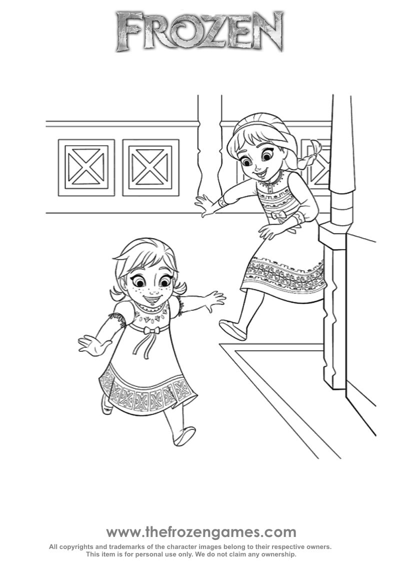 Young Anna and Elsa To her Coloring Frozen Games
