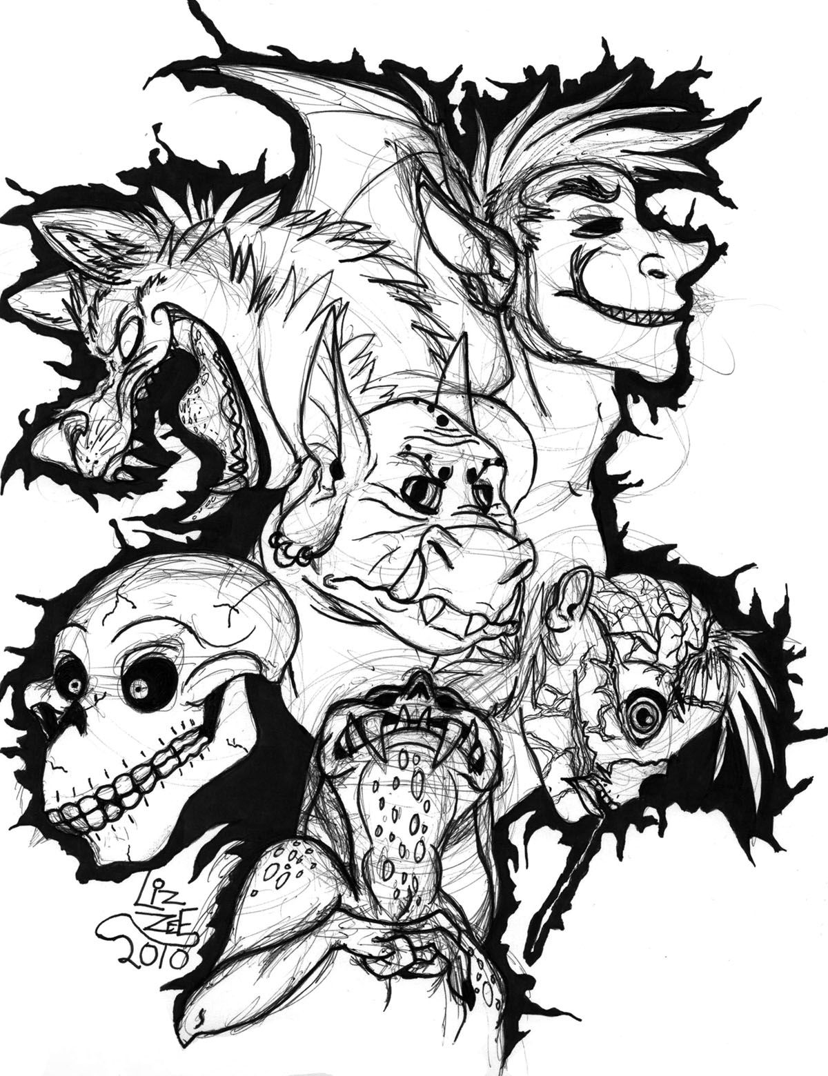 Monsters Coloring Page - Coloring Home