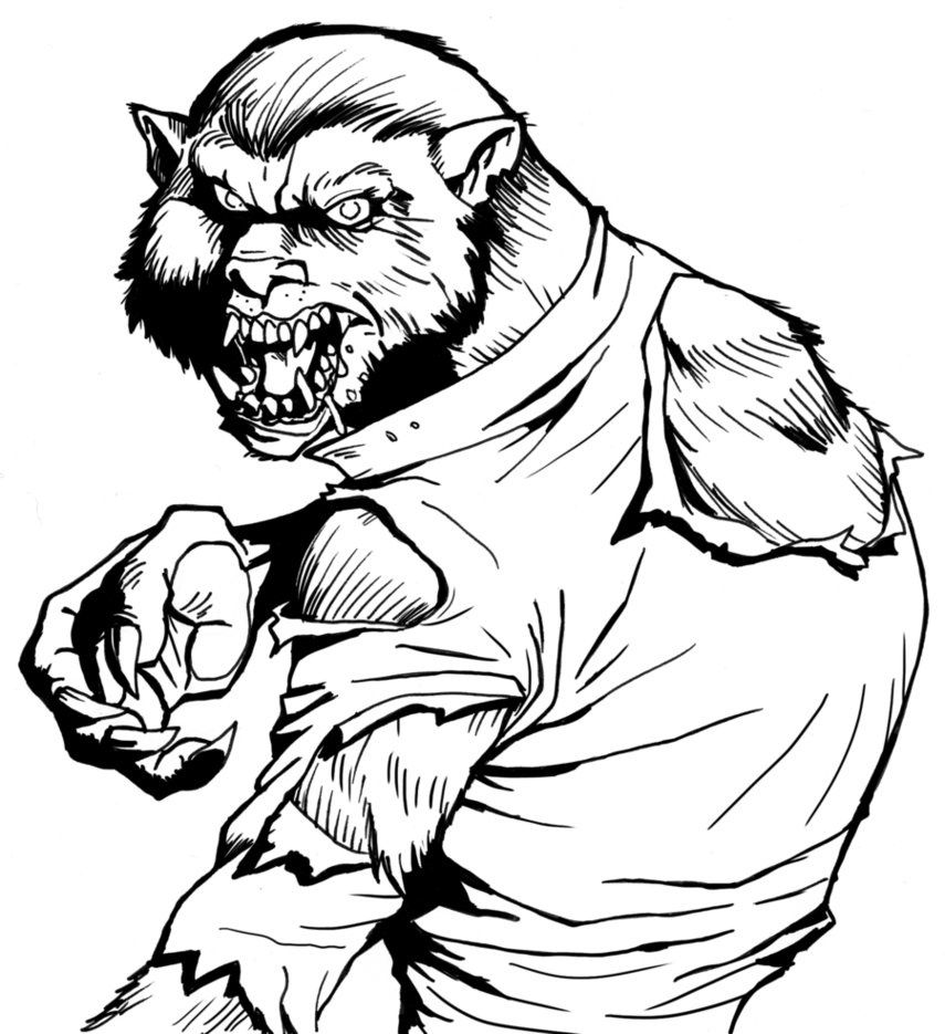 vampire and werewolf coloring pages halloween werewolf coloring - Halloween Werewolf Coloring Pages