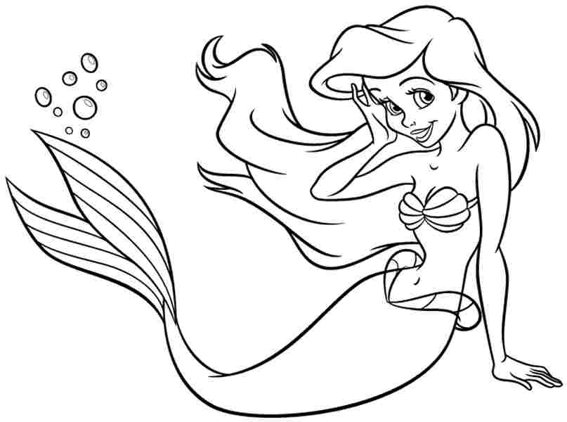 Printable Disney Princess Little Mermaid Ariel Coloring Sheets