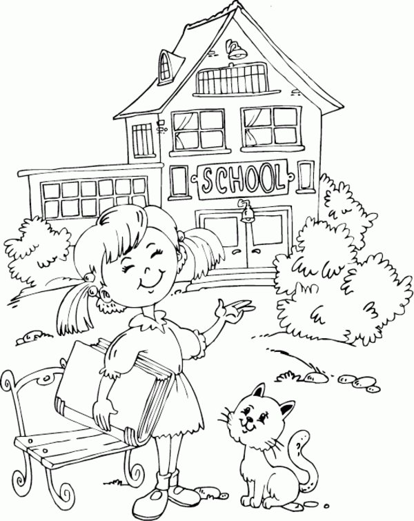 Schoolhouse Coloring Page Coloring Home
